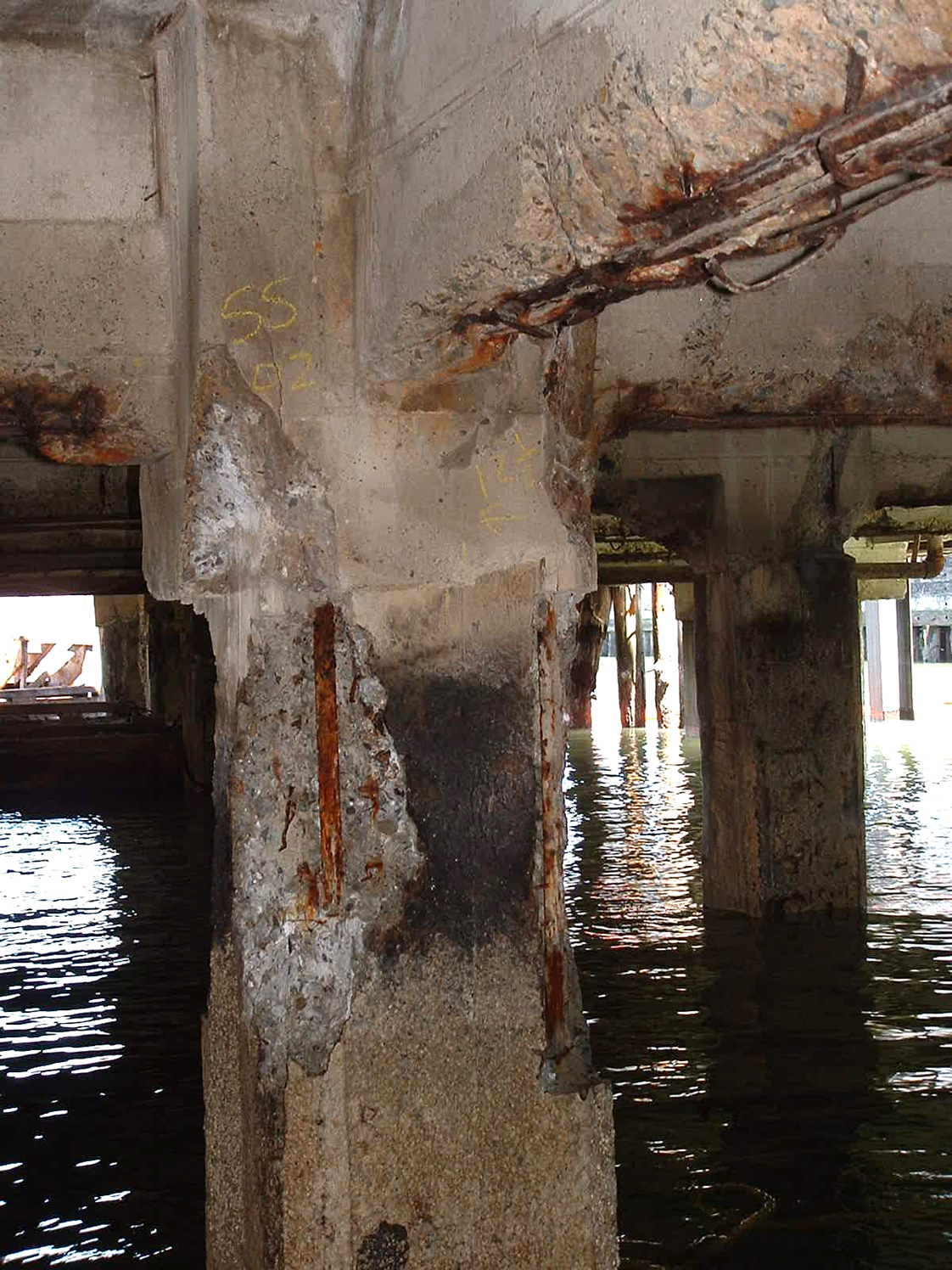Damaged Pier Substructure with Water