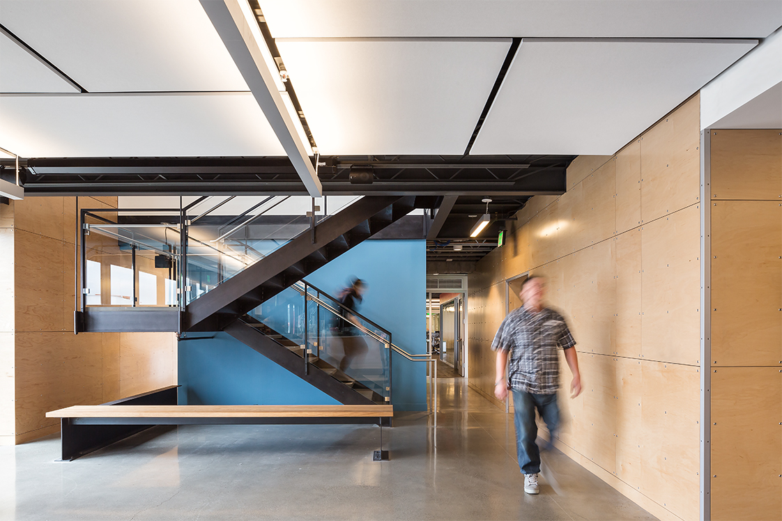 Autodesk Pier 9 San Francisco Office Interior with Stairs and Woof Finishes