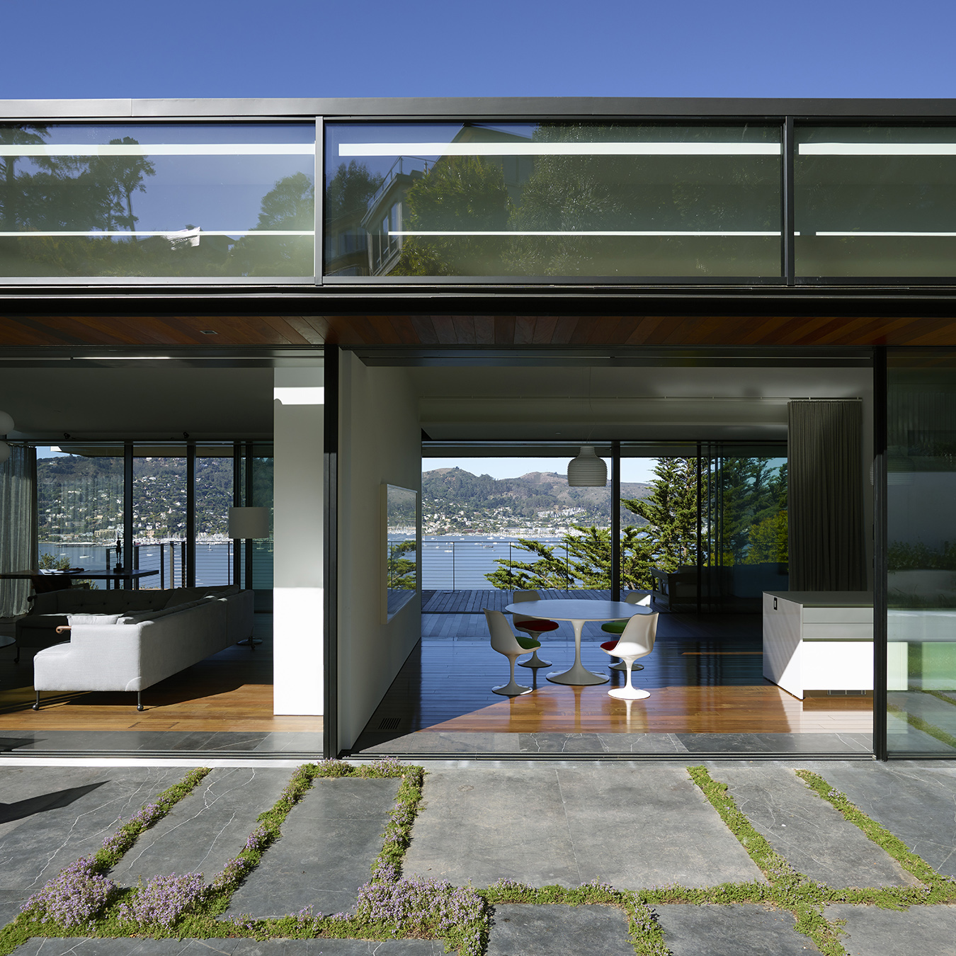 Eucalptus Residence Exterior with Cantilver Windows and Bay Views