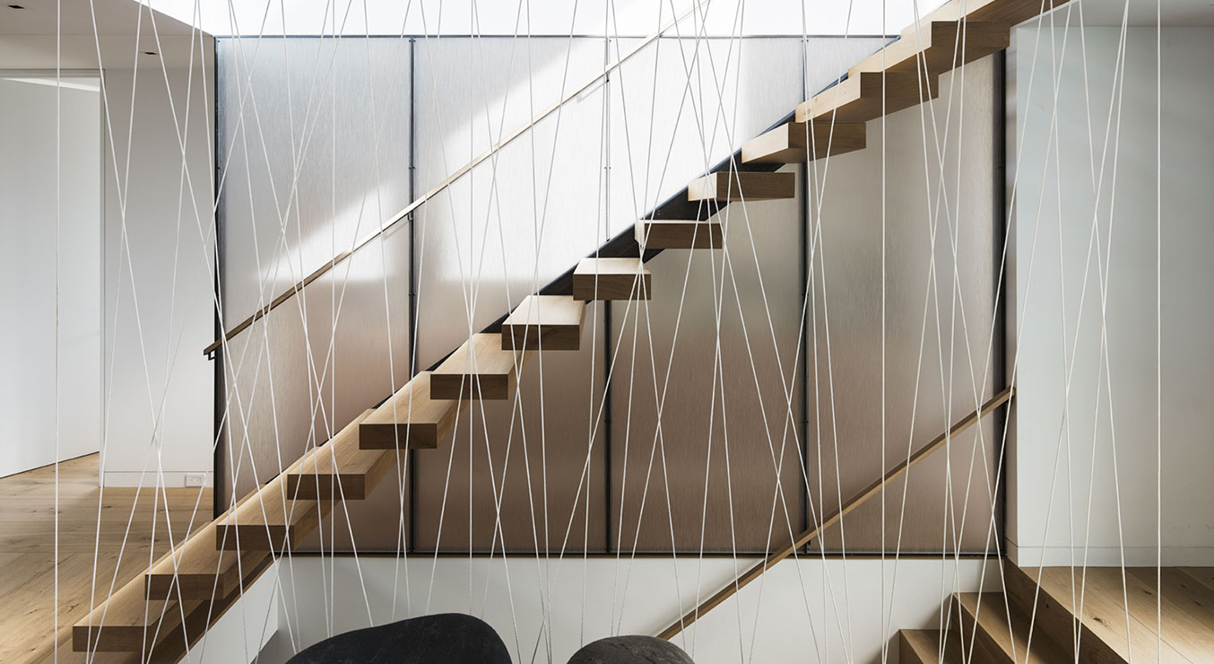 Spruce Street Residence Interior Floating Stairs