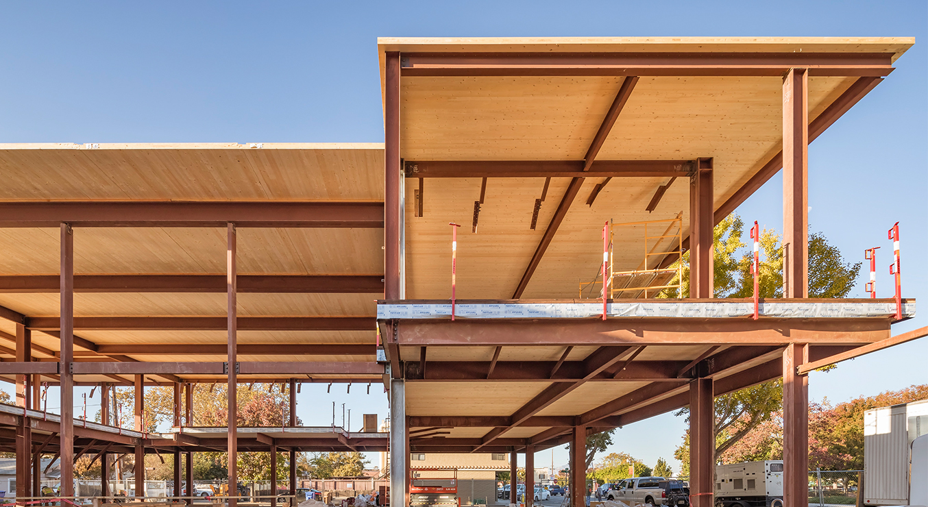 Brentwood Public Library Construction with CLT Roof Panels Installed