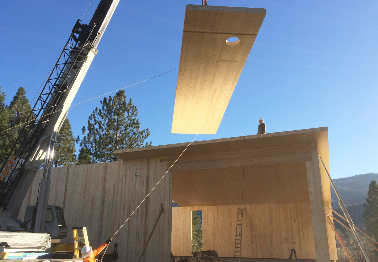 CLT (Cross-Laminated Timber) installation at roof of the Biomass Boiler Building