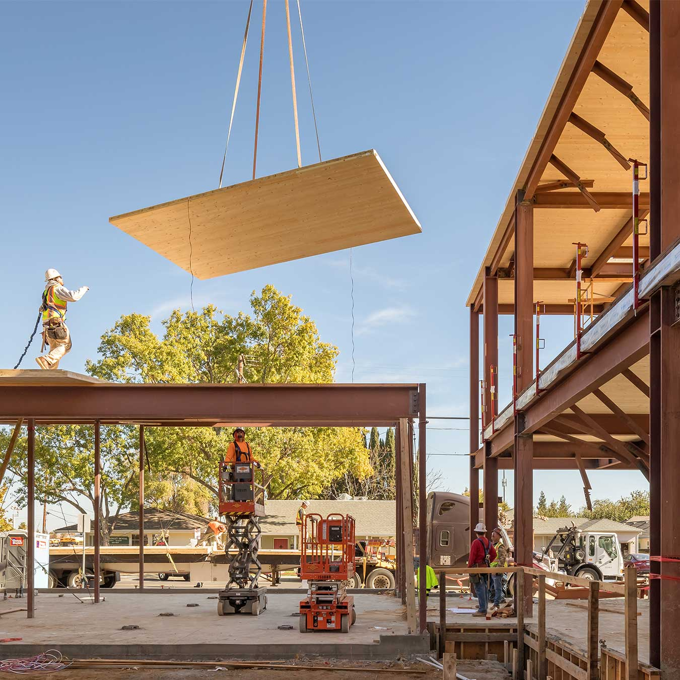 Mass Timber Panel Installation at the Brentwood Public Library in Brentwood, California