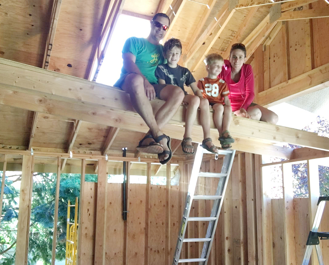 Jennifer Eggers with Family and Home Improvement Project