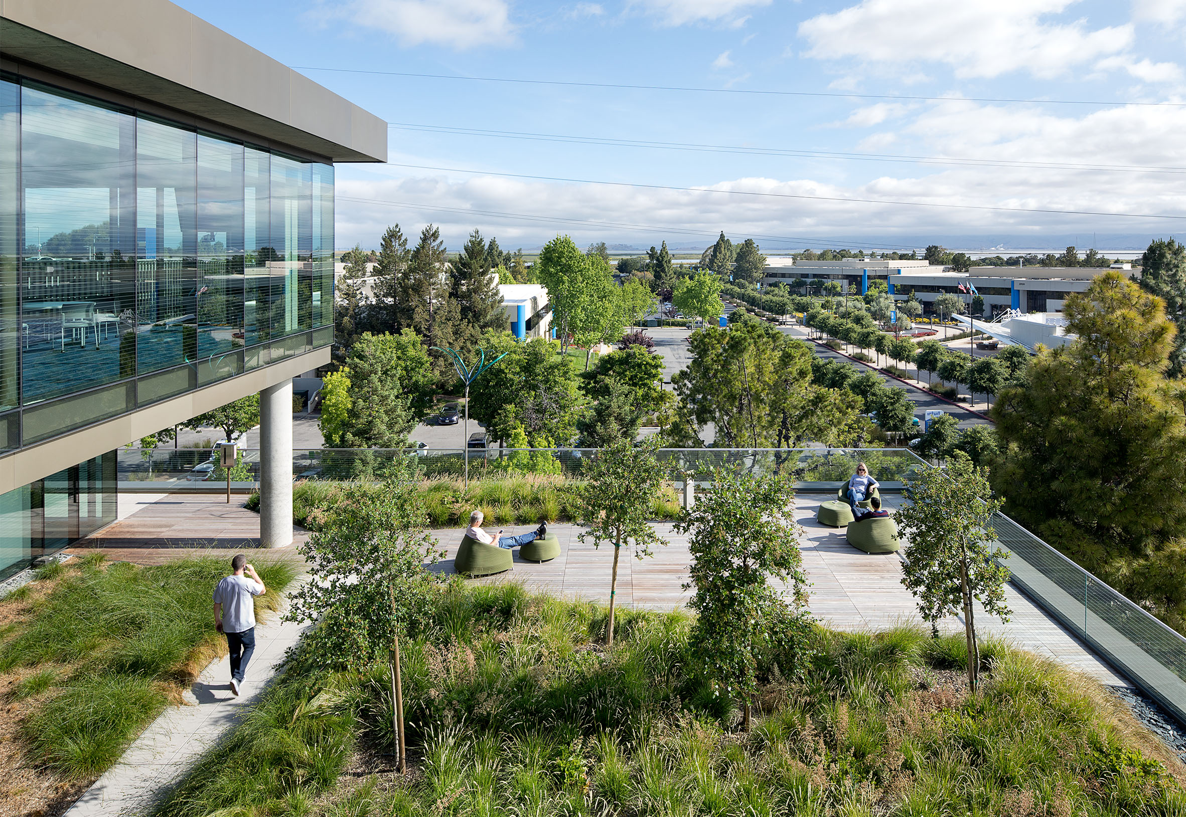 Intuit Green Roof Deck with Landscaping and Employees