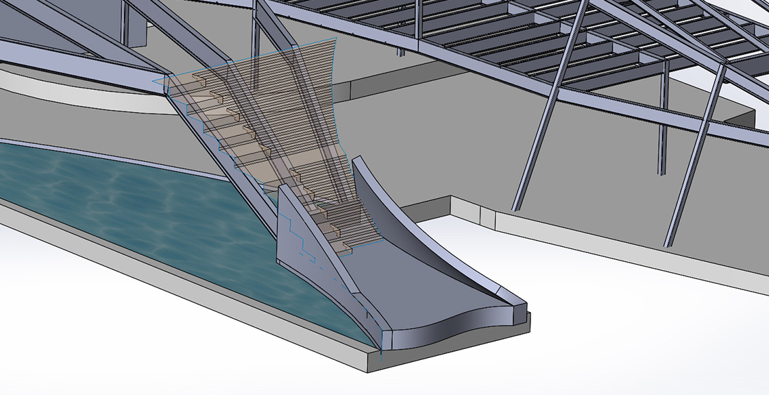 Alta Sea model of stairs over water