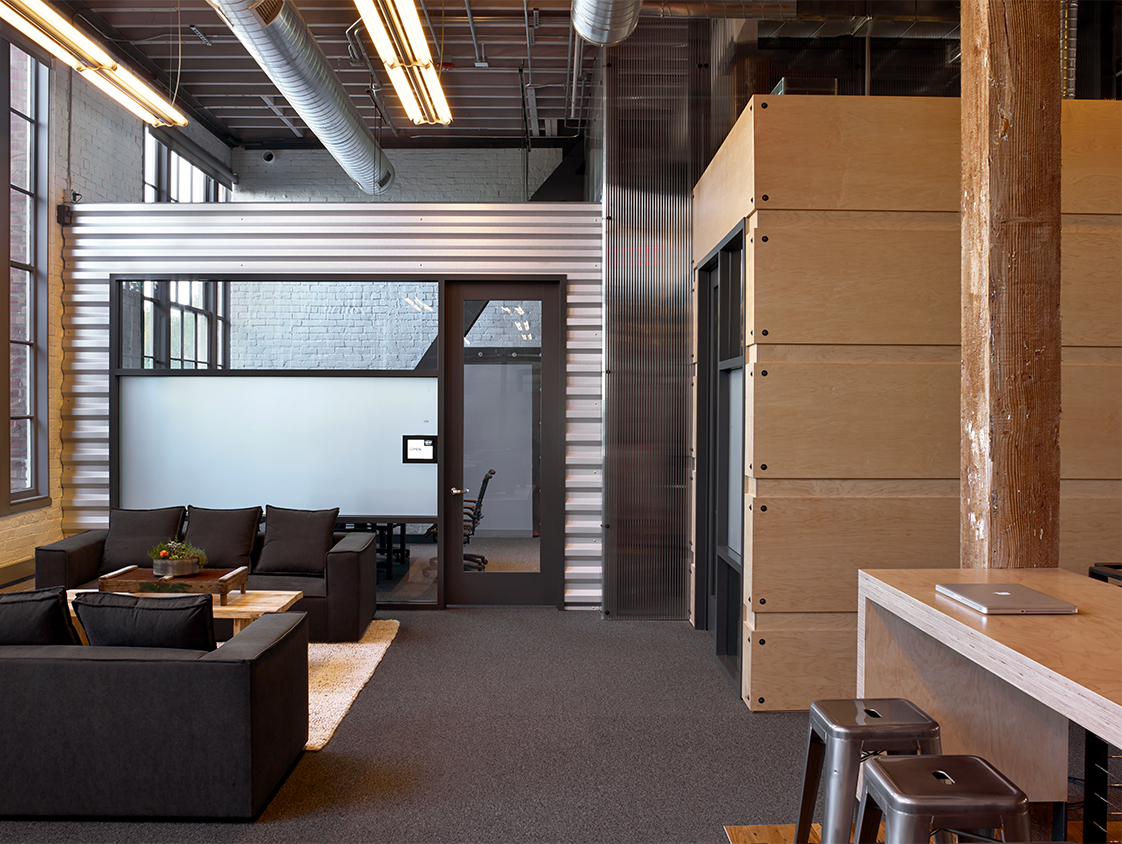 Heroku San Francisco Office Interior with Couches and Wood Finishes