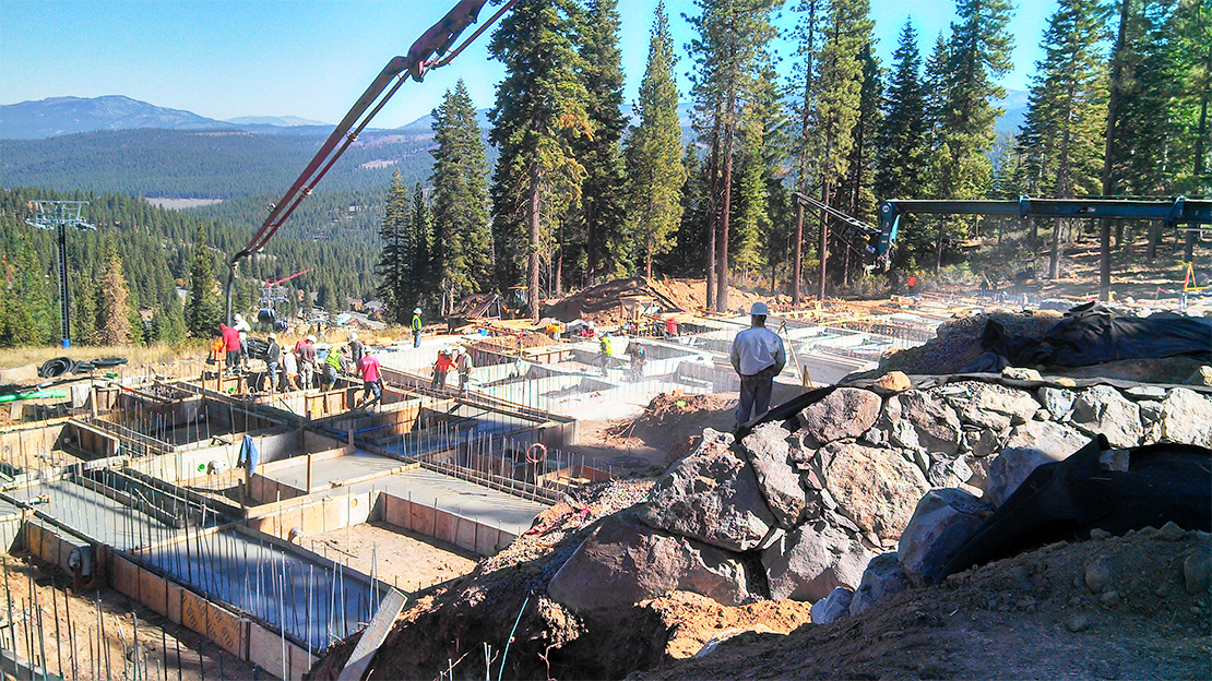 Northstar Stellar Residences Under Construction with Foundations and Mountains