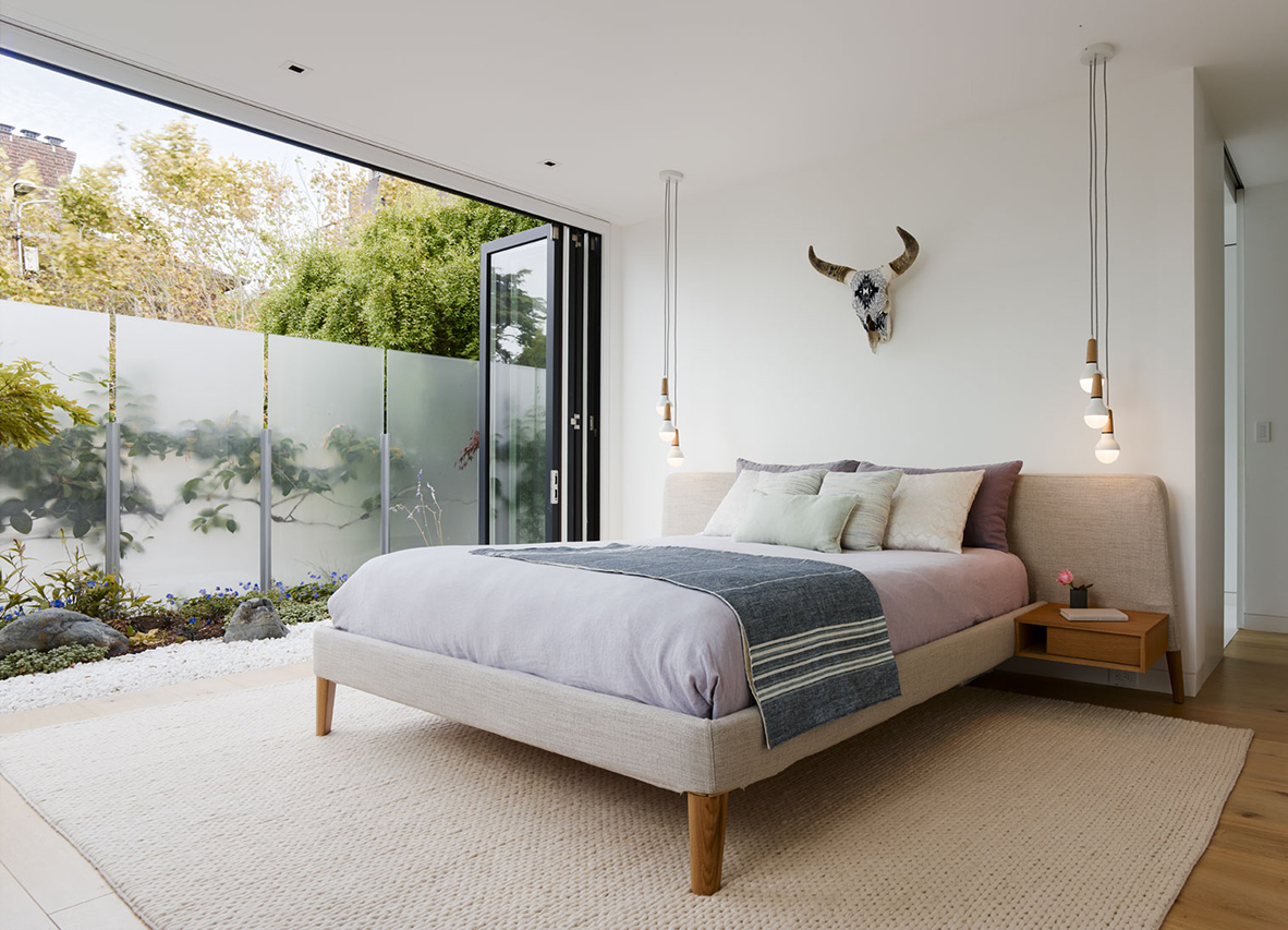 Spruce Street residence bedroom sliding door