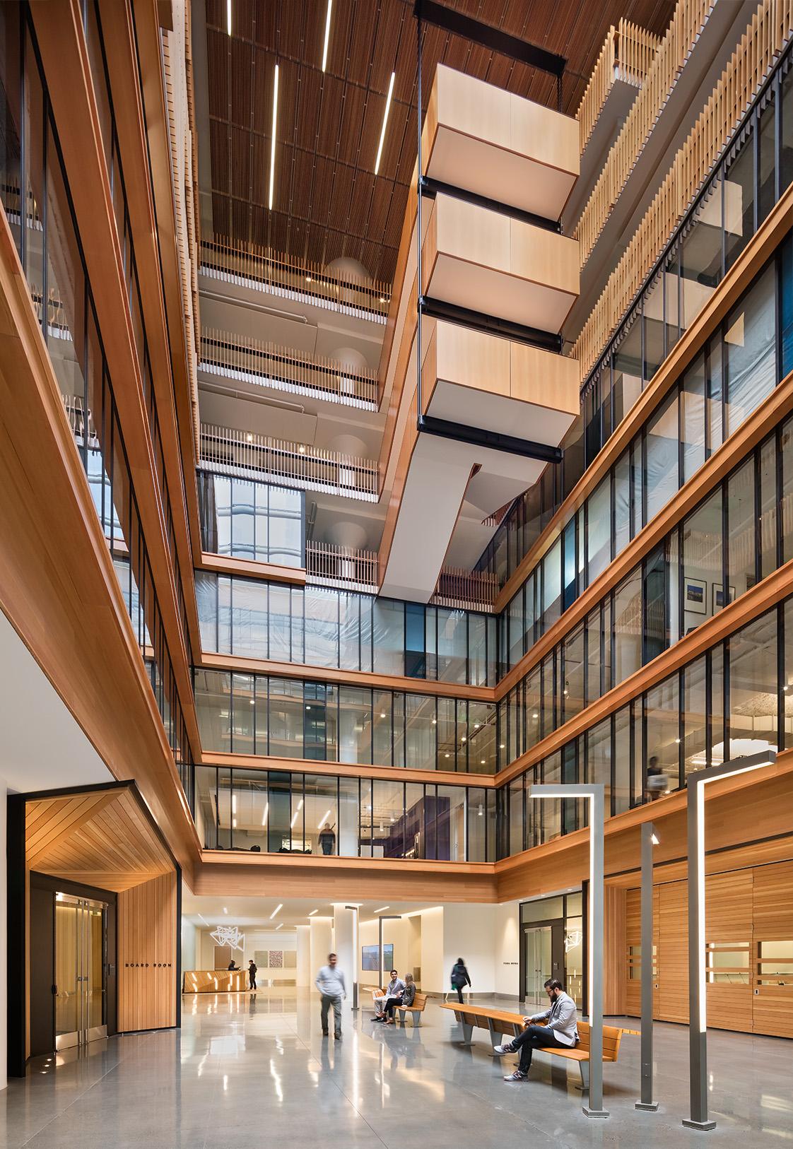 Bay Area Metro Center Seven-Story Atrium with Repurposed Wood Paneling