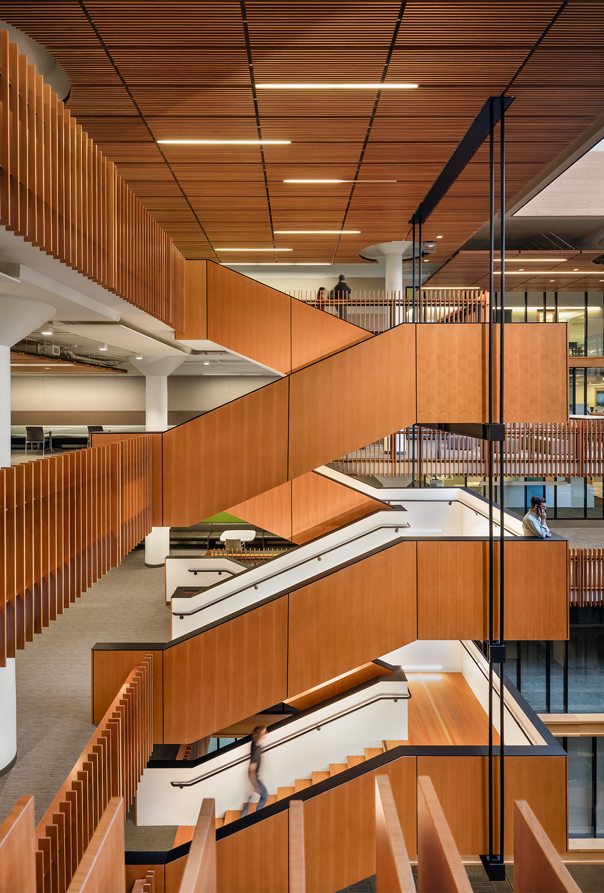 Bay Area Metro Center Feature Stair with Repurposed Wood