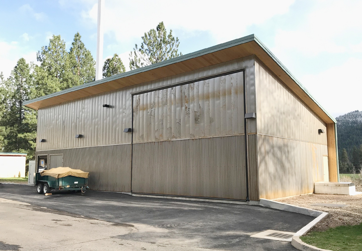The completed Biomass Boiler Building is the first fully CLT (Cross Laminated Timber) building in California.