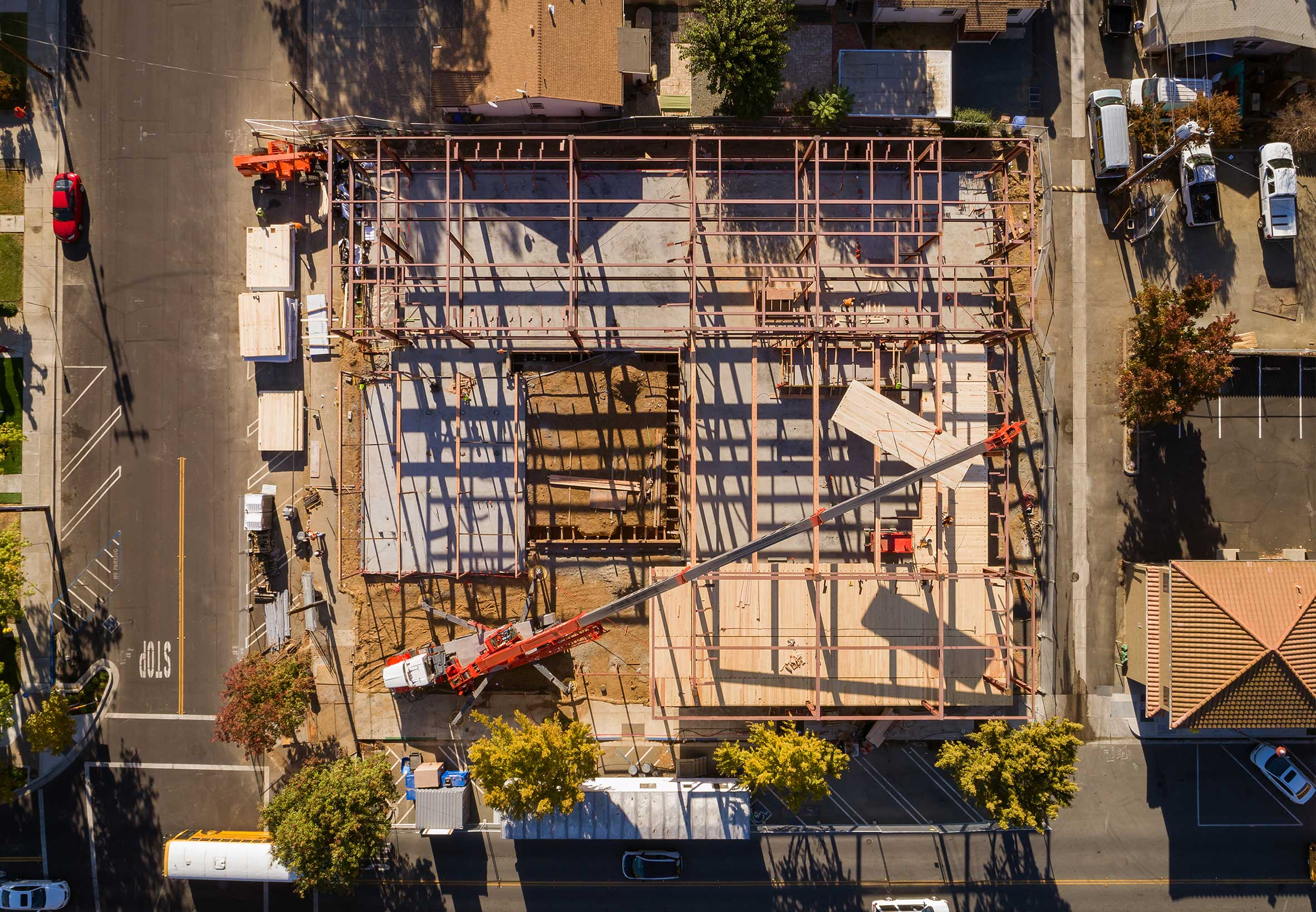 Aerial of CLT Construction at Brentwood Public Library in Brentwood, CA