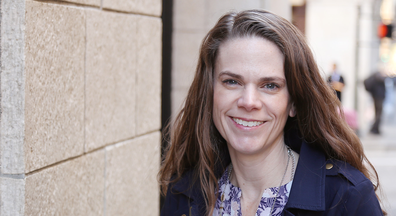 Jennifer Eggers of Holmes Structures outside downtown