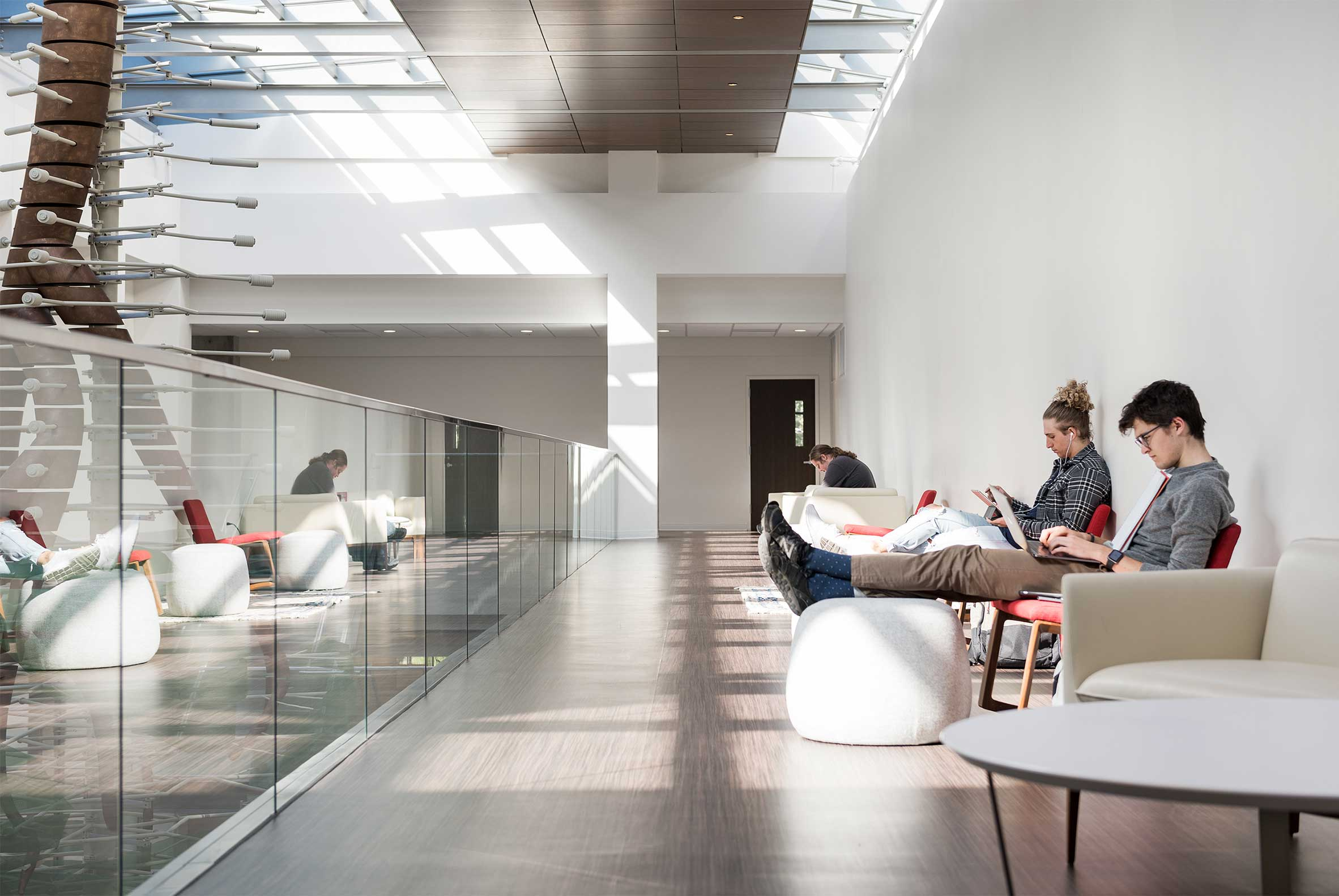 Students Lounge and Study at Upper Level of Crocker Science Center, University of Utah