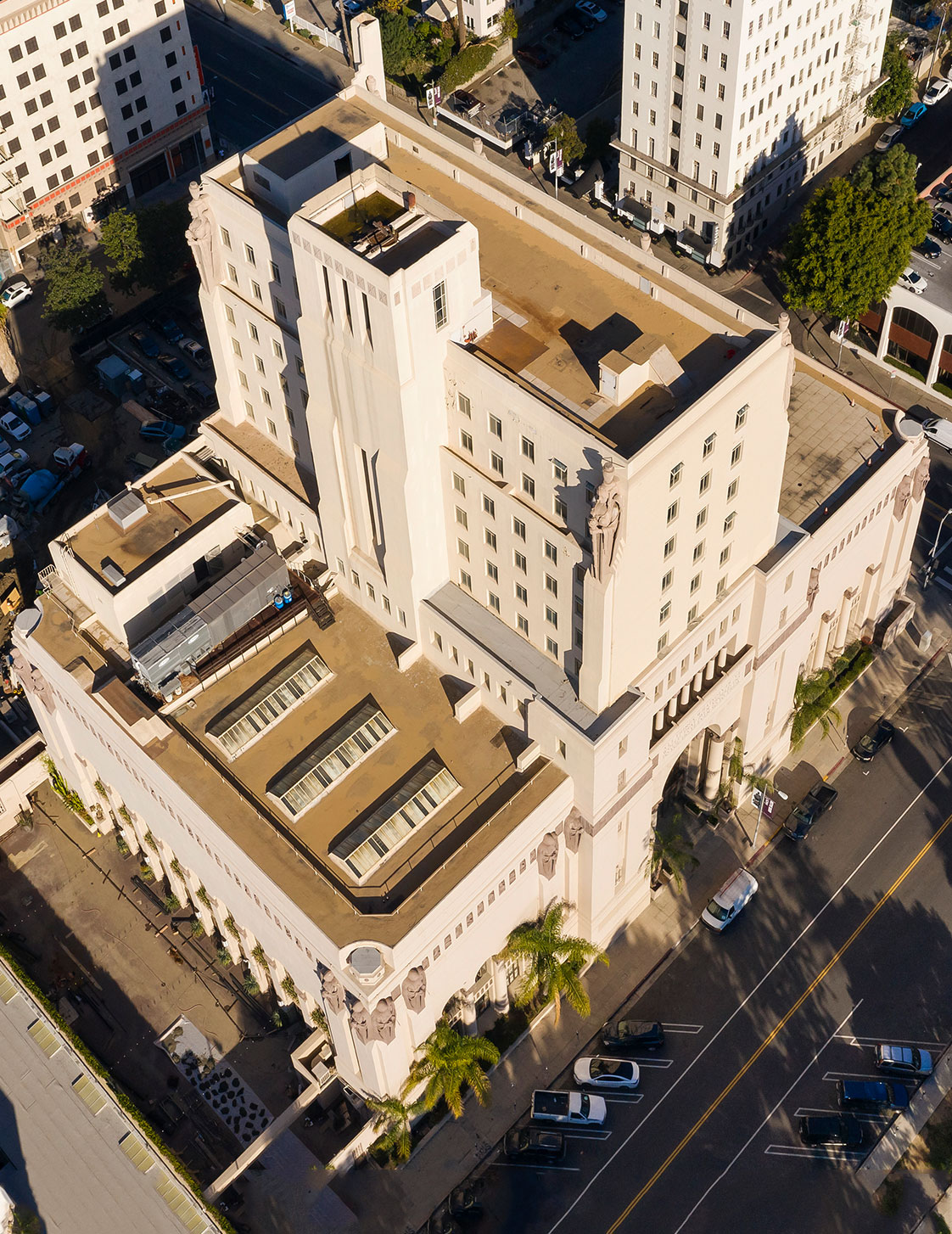 Exterior Aerial of The MacArthur with Tiered Facade Los Angeles