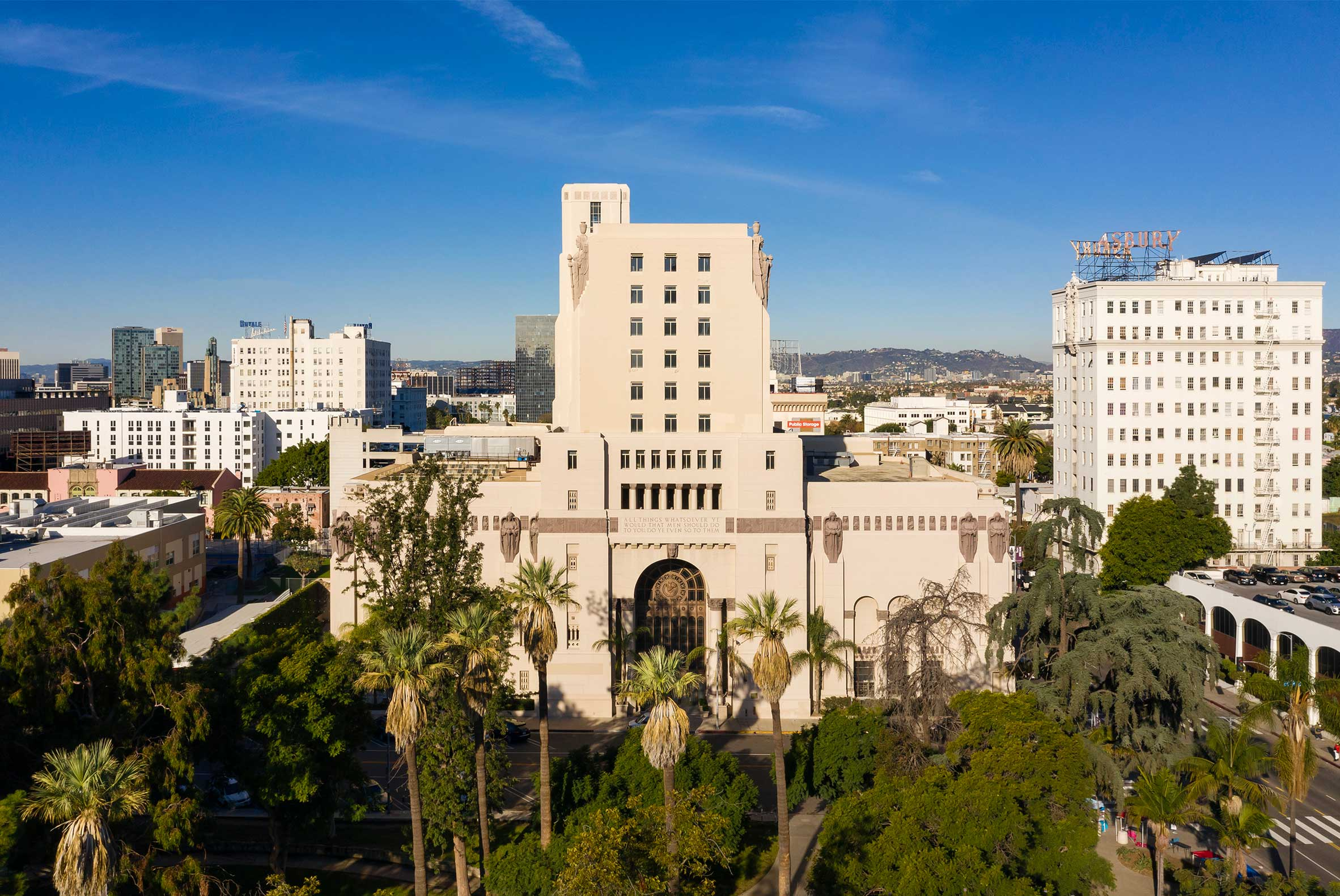 The MacArthur Exterior with MacArthur Park Trees and Blue Sky